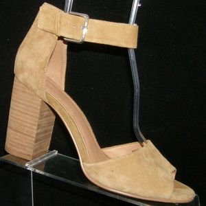 Urban Outfitters tan beige suede peep toe heel 10M